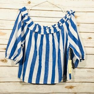 New Chocolate blue striped off the shoulder top